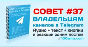 Аудио + текст + кнопки и реакции в Telegram