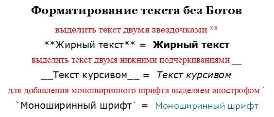 Форматирование текста без Ботов